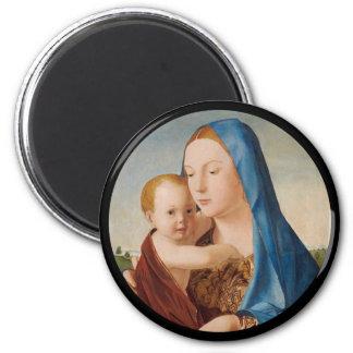 Un portrait de Mary et de bébé Jésus Aimant