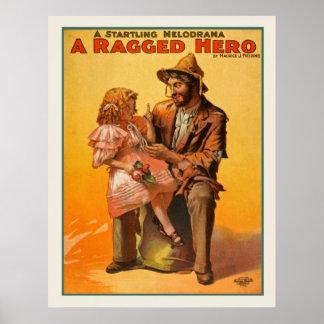 Un poster vintage en lambeaux de héros