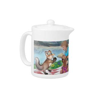 Un thé avec le pot de thé de Frieda, de thé et de