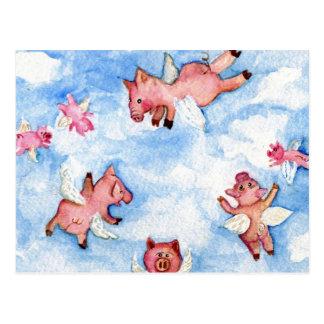 un troupeau heureux de carte postale de porcs de