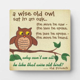 Un vieux proverbe sage - plaque