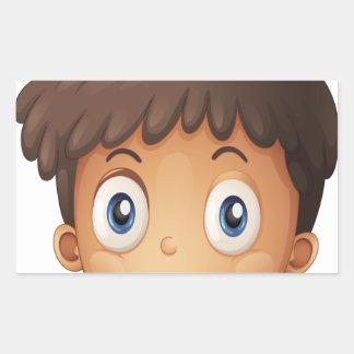 Un visage d'un garçon sticker rectangulaire