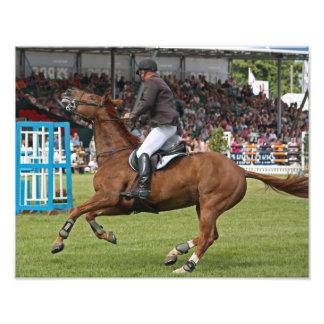 Une copie de photo d'un cheval et d'un cavalier