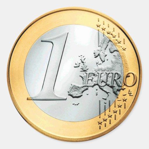 Une euro pièce de monnaie (paquet de 6/20) autocollant rond