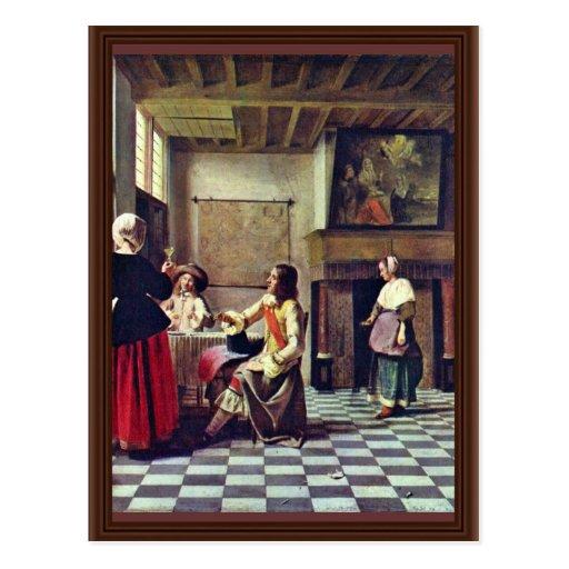 une femme buvant avec deux hommes par gn le pieter carte postale zazzle. Black Bedroom Furniture Sets. Home Design Ideas