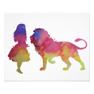 Une fille et un lion impression photo