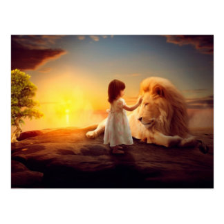 Une fille, un lion - imagination carte postale