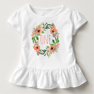 Une guirlande florale de bébé an d'anniversaire t-shirt pour les tous petits