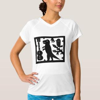 Une guitare, un dinosaure, et un oiseau t-shirt