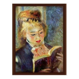 Une lecture de fille par Pierre-Auguste Renoir Carte Postale
