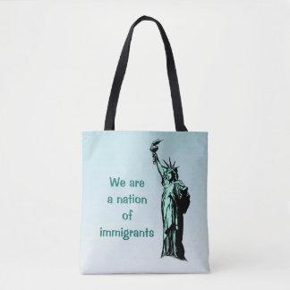 Une nation de sac fourre-tout à bleu d'immigrés