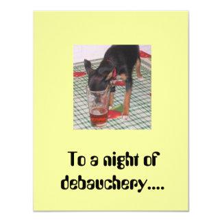 Une nuit d'invitation de débauche carton d'invitation 10,79 cm x 13,97 cm
