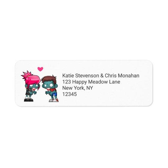 Une paire de zombis mignons dans l'amour étiquettes d'adresse retour