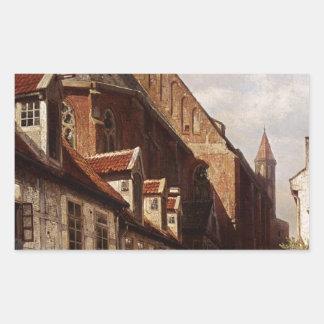 Une rue passante à Brême avec le saint Johann Sticker Rectangulaire