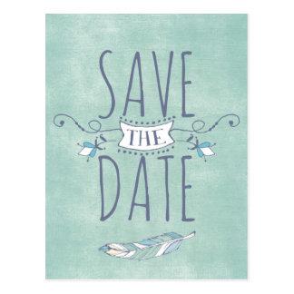 Unieke Boho Elegant sparen de Datum Briefkaart