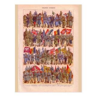 Uniformes vintages de la première guerre mondiale carte postale