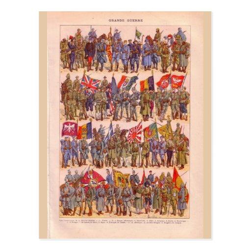 Uniformes vintages de la première guerre mondiale cartes postales
