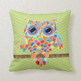 Unique Funky Modern Lime Green Owl Art Cushion Throw Pillow