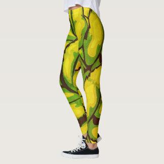 Usage actif abstrait Legging de femmes jaunes de