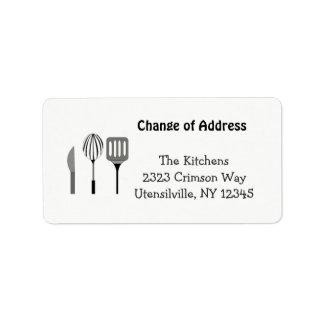 Ustensiles pour la nouvelle adresse de cuisine étiquettes d'adresse