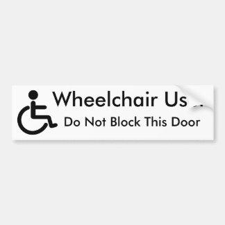Utilisateur de fauteuil roulant - ne bloquez pas autocollant de voiture