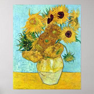 Vaas met Twaalf Zonnebloemen door Vincent van Gogh Poster