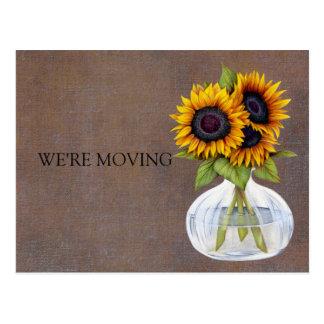 Vaas van de Mooie Adreswijziging van Zonnebloemen Briefkaart
