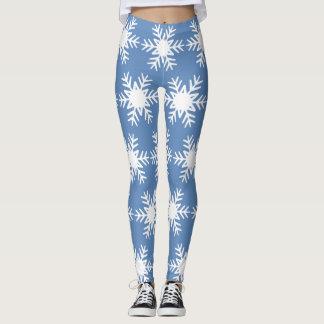 Vacances bleues de Noël blanc de cool de flocon de Leggings
