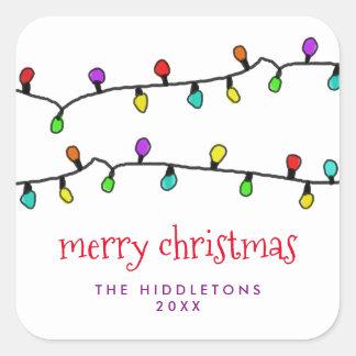 Vacances colorées de lumières de Noël d'amusement Sticker Carré