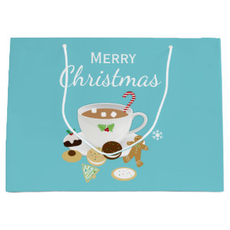 Vacances de biscuits de Noël et de chocolat chaud Grand Sac Cadeau