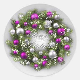 Vacances de Noël - pourpre/argent de guirlande Sticker Rond