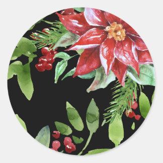 Vacances élégantes d'aquarelle florales sticker rond