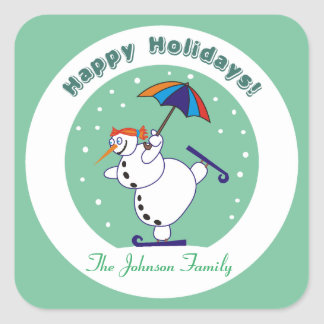 Vacances heureuses Snowgirl sur des autocollants