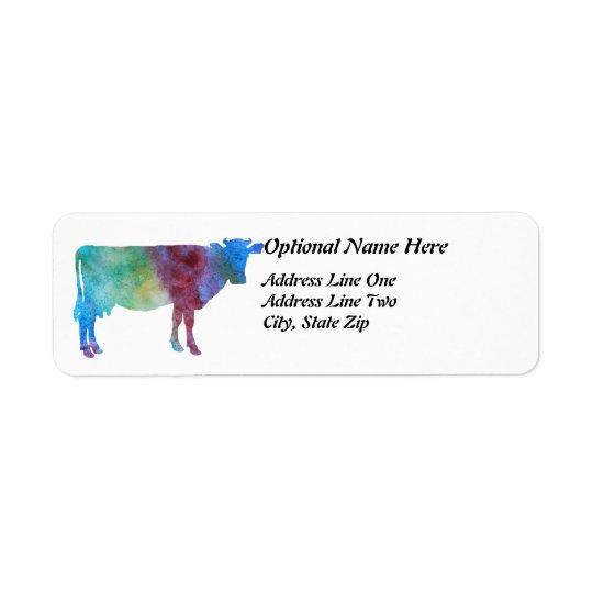 Vache à arc-en-ciel avec le texte personnalisable étiquette d'adresse retour