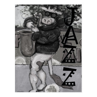 Vache à saxophone carte postale