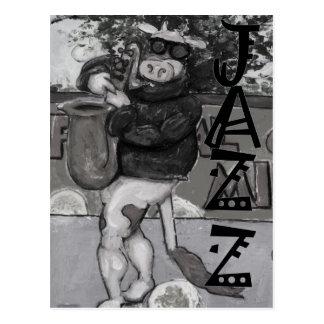 Vache à saxophone cartes postales