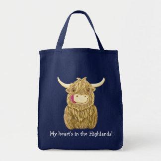 Vache des montagnes écossaise heureuse sac en toile épicerie