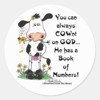 Vache et coccinelle COWnt sur Dieu Sticker Rond