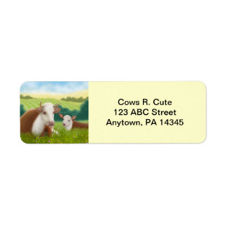 Vache et veau à Hereford personnalisables Étiquette D'adresse Retour
