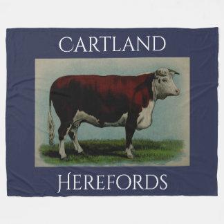 Vache vintage personnalisée à Hereford Couverture Polaire