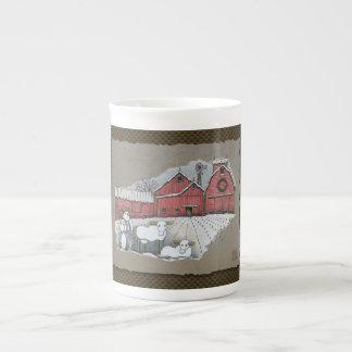 Vaches et grange à neige mug