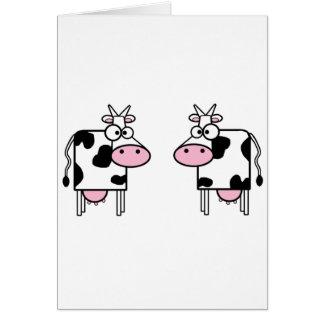 Vaches heureuses à bande dessinée carte de vœux