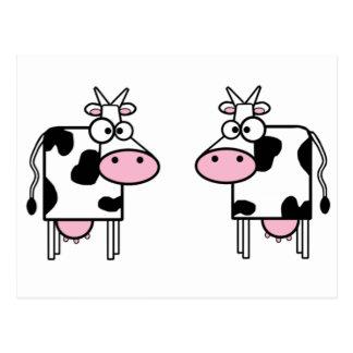 Vaches heureuses à bande dessinée cartes postales