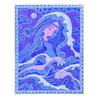 Vague, sirène, fille d'art d'imaginaire, bleu et impression photo