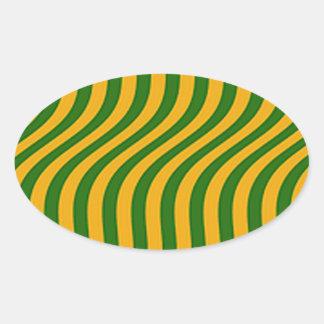 Vagues d'herbe d'agriculteur sticker ovale