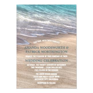 Vagues vintages de plage et invitations de mariage
