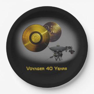 Vaisseau spatial de Voyager et disque d'or à 40 Assiettes En Papier