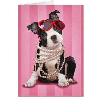 Valentine Boston Terrier Carte De Vœux