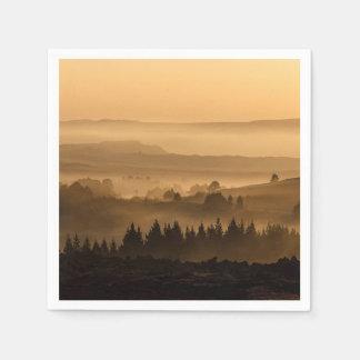 Vallée dans le beau paysage de brume serviette jetable