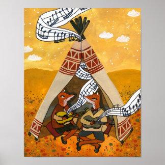 Valse de tipi - deux renards jouant la musique poster